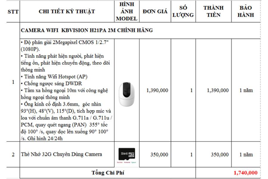 Báo giá lắp đặt camera wifi giá rẻ