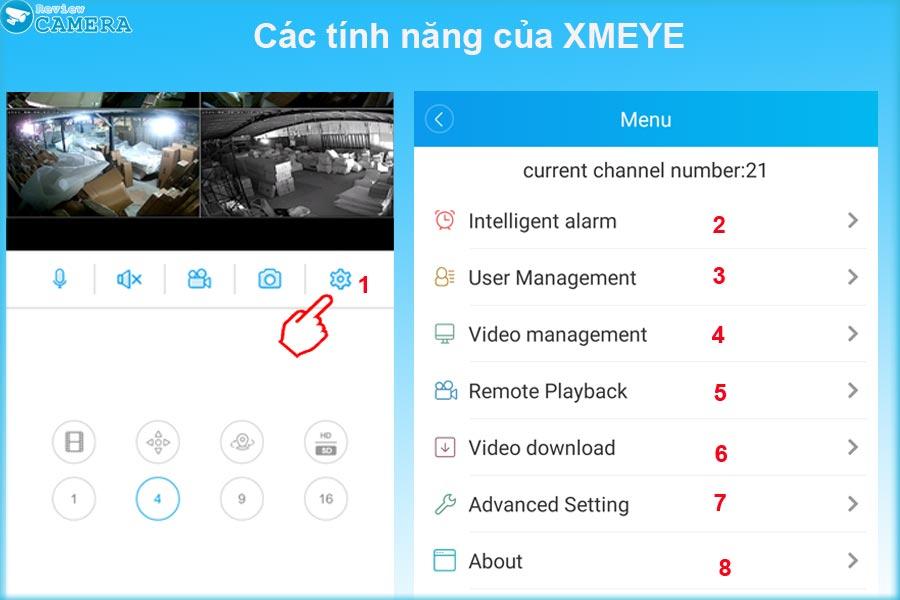 Các tính năng của XMeye