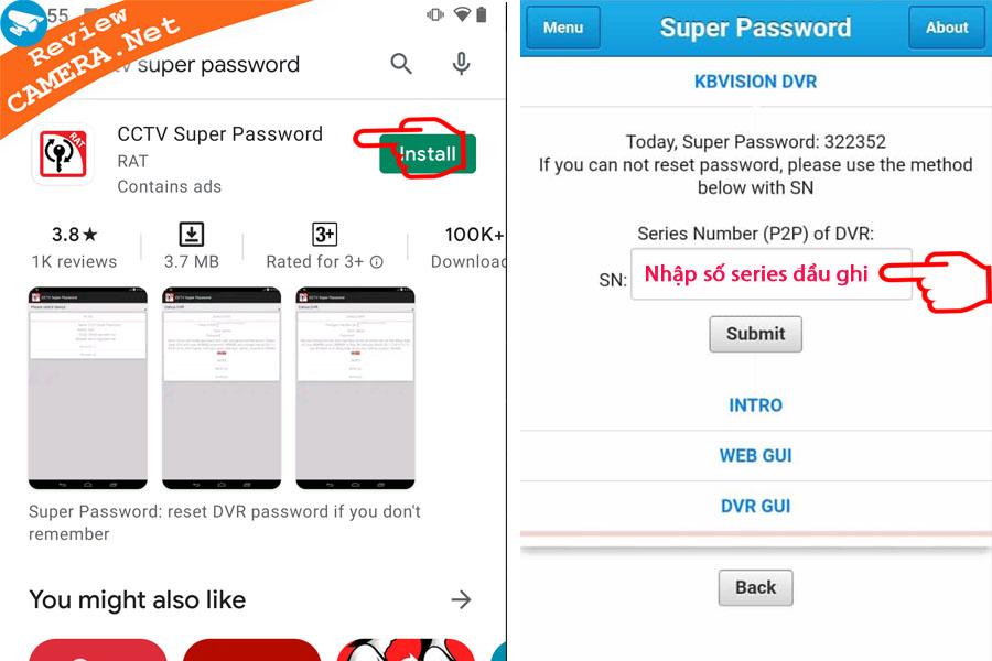 Khôi phục mật khẩu đầu ghi Kbvision