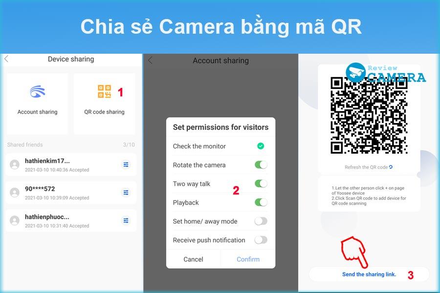 Chia sẻ camera Yoosee bằng mã QR