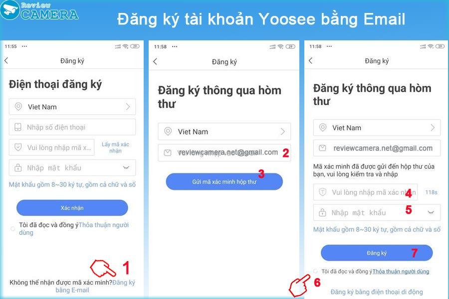 Đăng ký tài khoản Yoosee bằng Email
