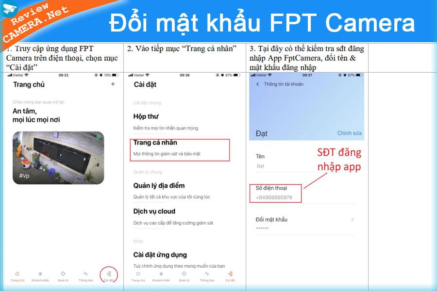 Đổi mật khẩu tài khoản camera fpt