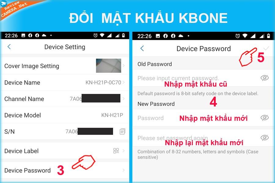 Đổi mật khẩu camera Kbone