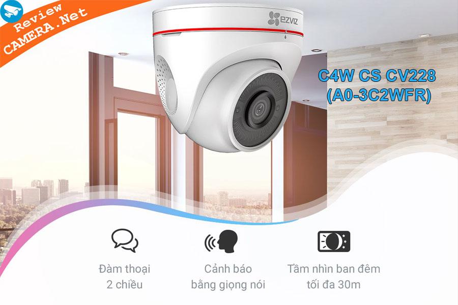 Review Camera  Ezviz C4WCS-CV228-A0-3C2WFR - Báo động thông minh bằng đèn và còi hú
