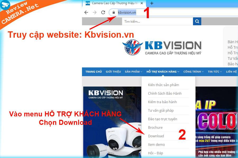 Hướng dẫn download phần mềm Kbvision
