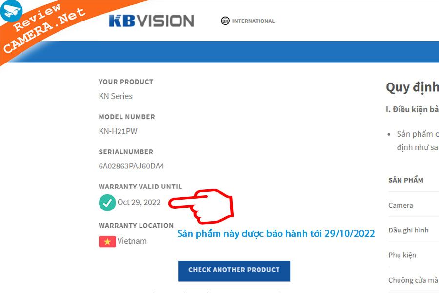 Kiểm tra bảo hành kbvision