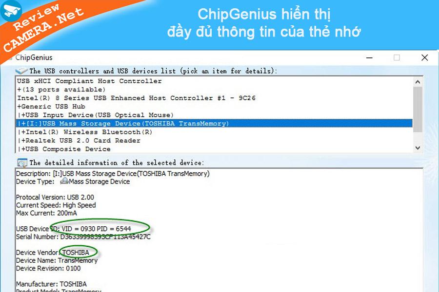 Phần mềm chipgenius kiểm tra thẻ nhớ