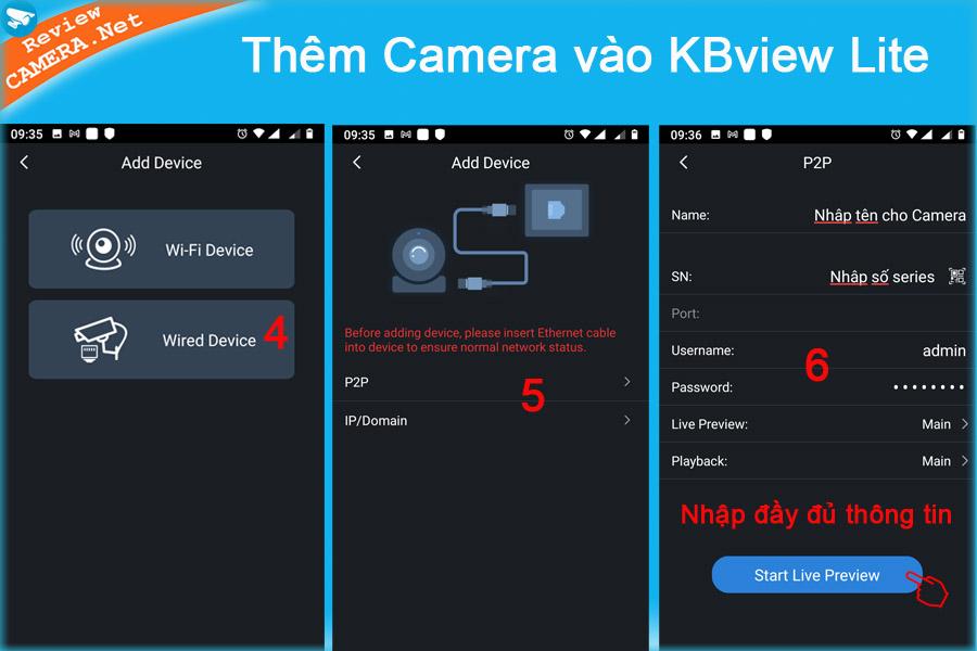 Thêm camera vào KBview Lite