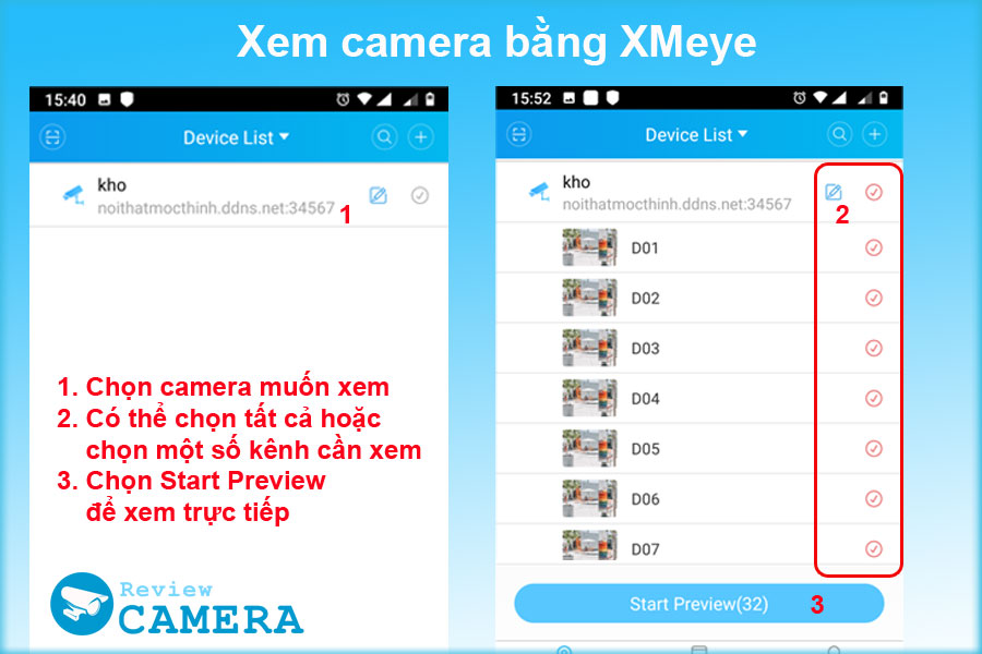 Xem camera bằng XMeye